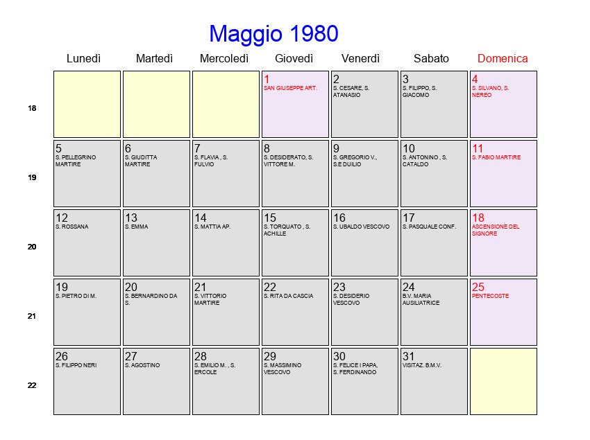 Calendario Anno 1980.Calendario Maggio 1980 Con Festivita E Fasi Lunari