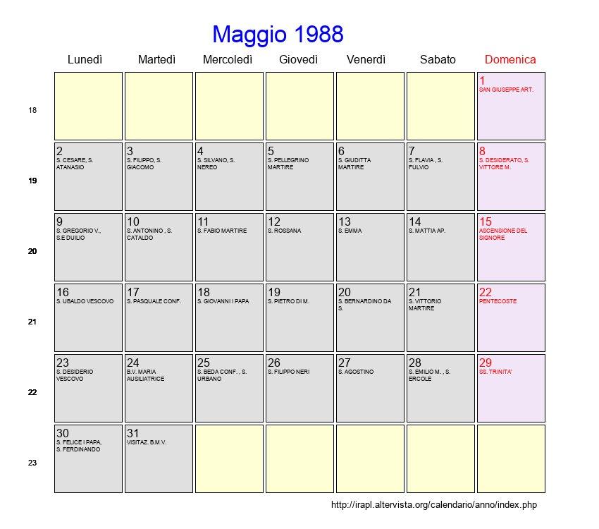 Calendario Lunare 1988.Calendario Maggio 1988 Con Festivita E Fasi Lunari