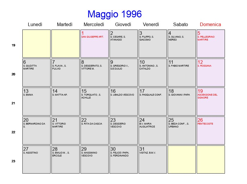 Calendario 1996.Calendario Maggio 1996 Con Festivita E Fasi Lunari