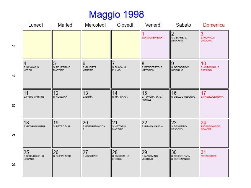 1998 Calendario.Calendario Maggio 1998 Con Festivita E Fasi Lunari