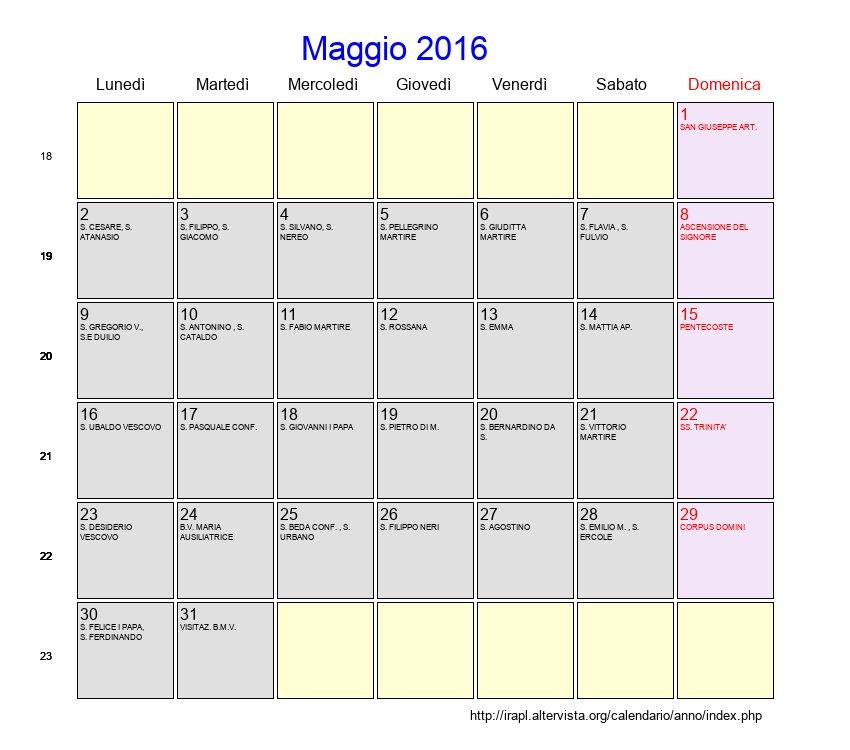 Calendario Lunare Maggio.Calendario Maggio 2016 Con Festivita E Fasi Lunari
