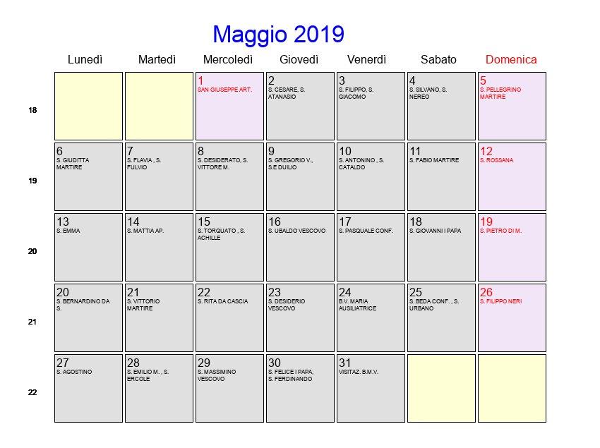 Calendario Annuale Da Stampare 2019.Calendario Maggio 2019 Con Festivita E Fasi Lunari