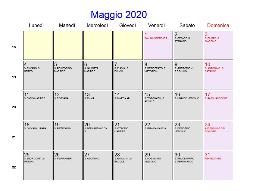 Calendario Lunare Maggio.Calendario Maggio 2020 Con Festivita E Fasi Lunari