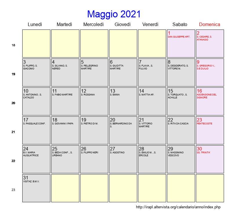 Calendario Maggio 2021   Con festività e fasi lunari