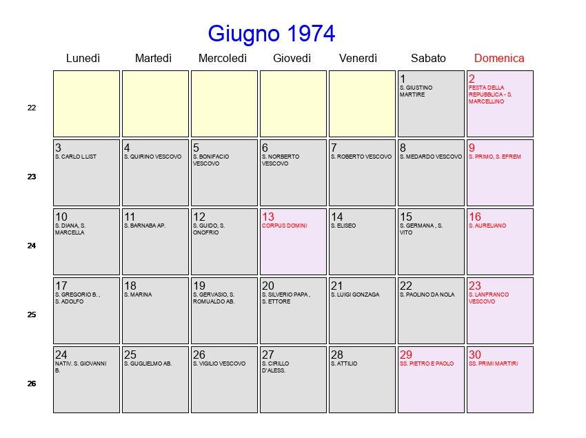 Calendario 1974.Calendario Giugno 1974 Con Festivita E Fasi Lunari