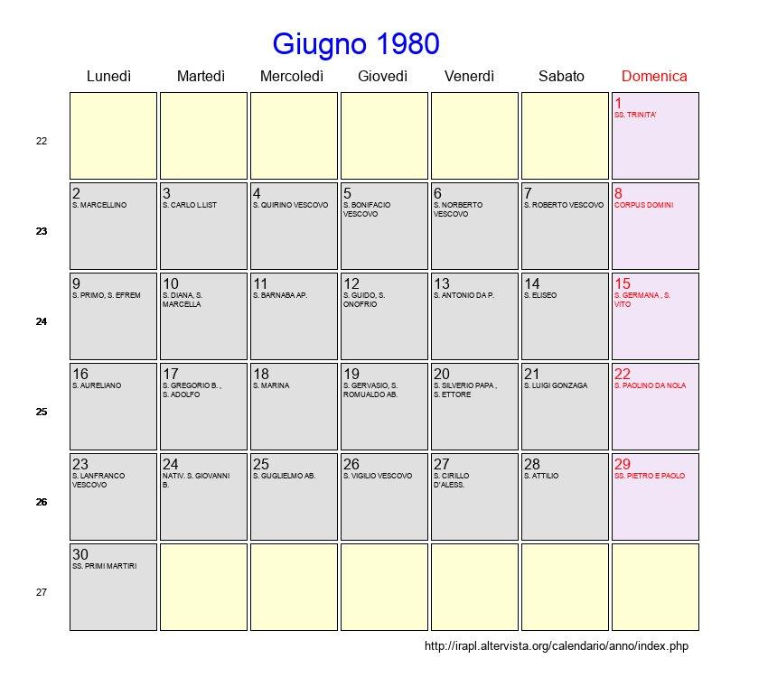 Calendario Anno 1980.Calendario Giugno 1980 Con Festivita E Fasi Lunari