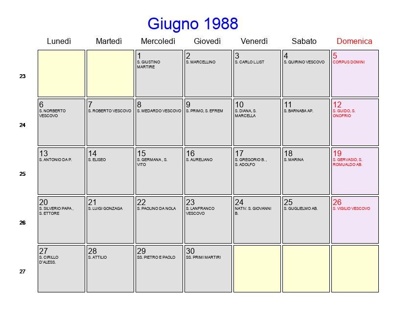 Calendario Lunare 1988.Calendario Giugno 1988 Con Festivita E Fasi Lunari