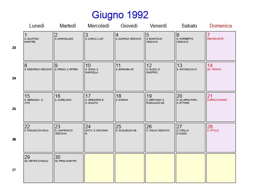 Calendario Anno 1992.Calendario Giugno 1992 Con Festivita E Fasi Lunari
