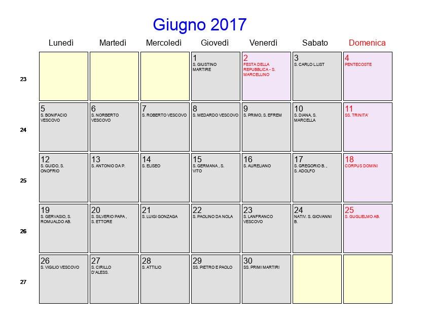 Calendario Mese Giugno.Calendario Giugno 2017 Con Festivita E Fasi Lunari