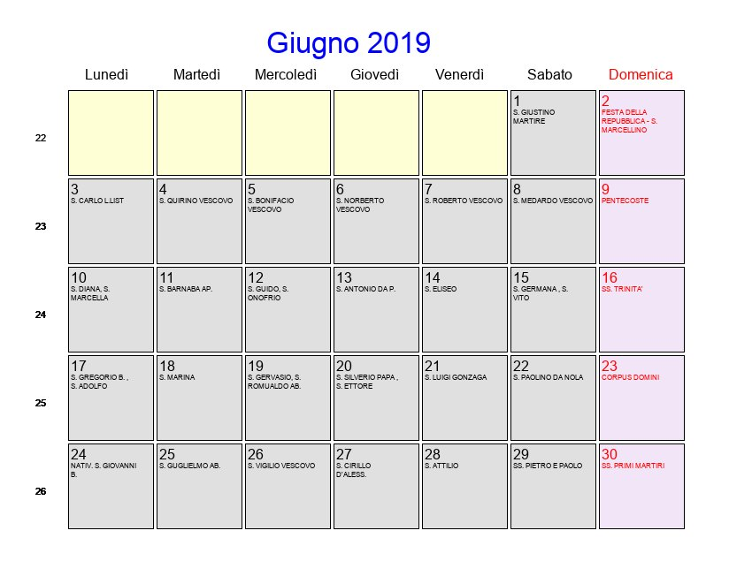Calendario Mese Dicembre 2019.Calendario Giugno 2019 Con Festivita E Fasi Lunari
