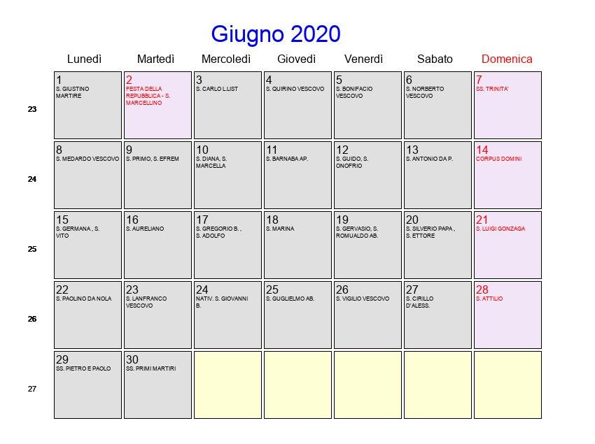 Calendario Da Scaricare.Calendario Giugno 2020 Con Festivita E Fasi Lunari
