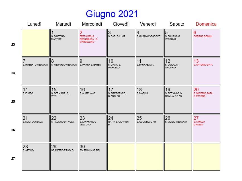 Calendario Giugno 2021   Con festività e fasi lunari   Corpus Domini