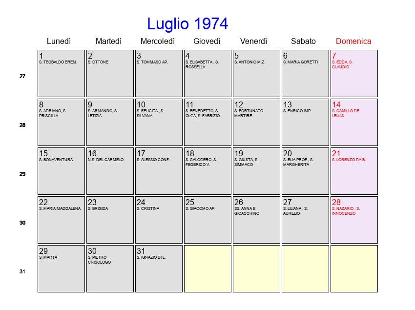 Calendario Anno 1974.Calendario Luglio 1974 Con Festivita E Fasi Lunari