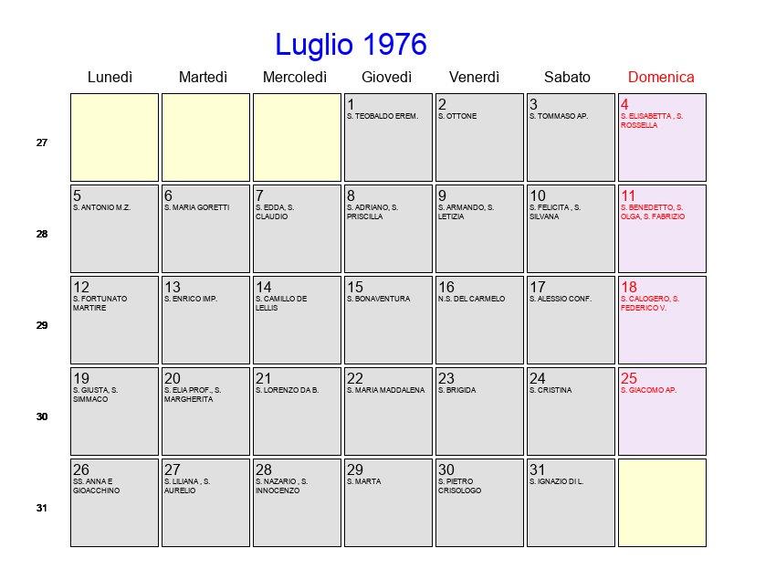 Calendario 1976.Calendario Luglio 1976 Con Festivita E Fasi Lunari