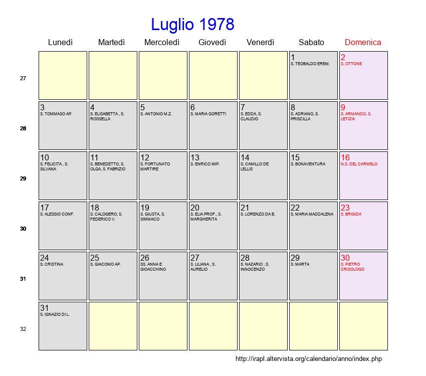 Calendario Lunare 1978.Calendario Luglio 1978 Con Festivita E Fasi Lunari