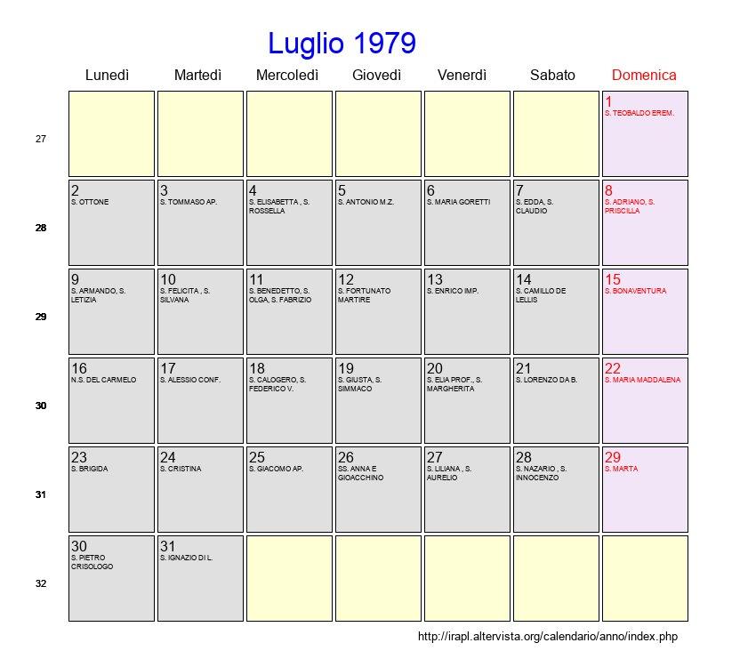 Calendario Del 1979.Calendario Luglio 1979 Con Festivita E Fasi Lunari