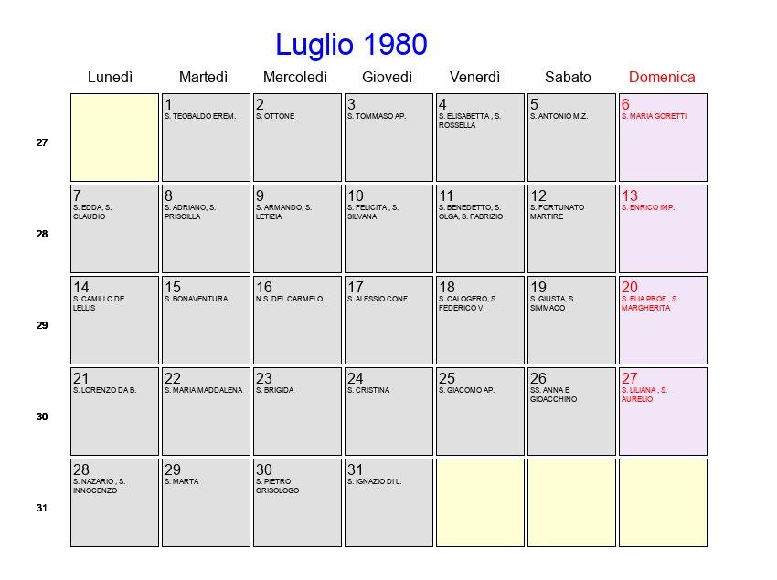 Calendario Anno 1980.Calendario Luglio 1980 Con Festivita E Fasi Lunari