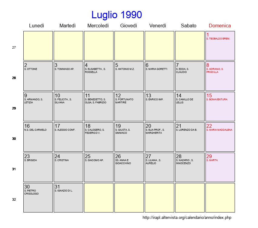 1990 Calendario.Calendario Luglio 1990 Con Festivita E Fasi Lunari