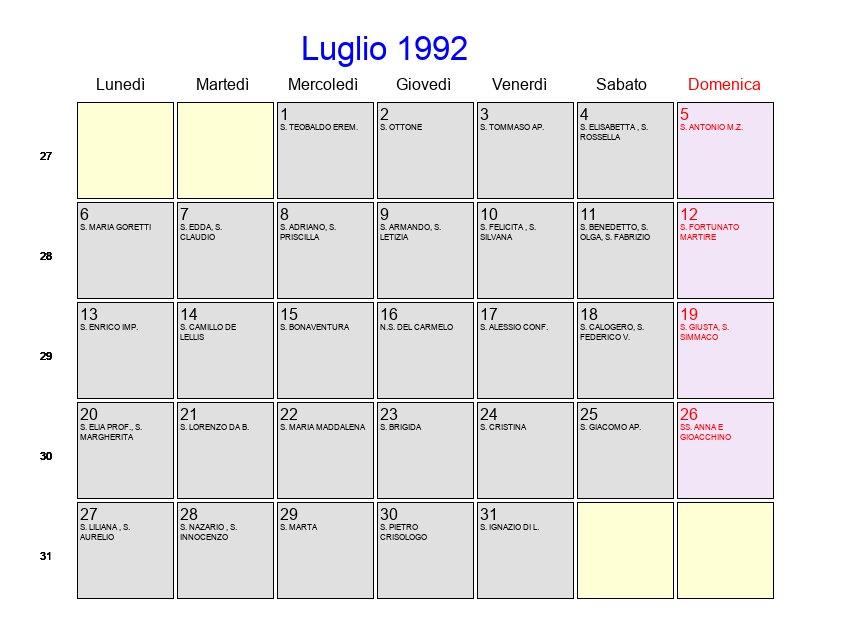 Calendario Anno 1992.Calendario Luglio 1992 Con Festivita E Fasi Lunari