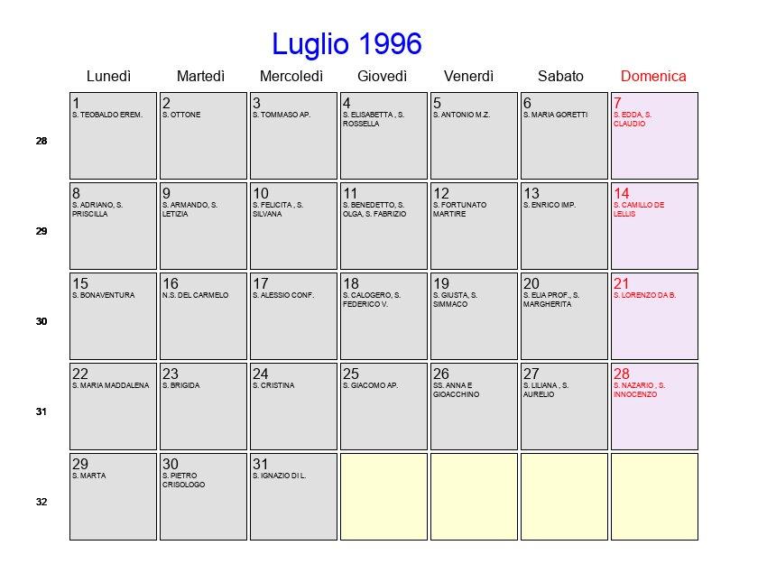 Calendario 1996.Calendario Luglio 1996 Con Festivita E Fasi Lunari