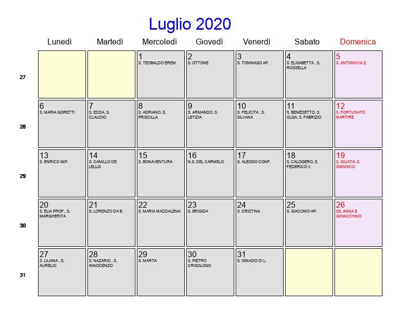 Agosto 2020 Calendario.Calendario Luglio Agosto 2020 Calendario 2020