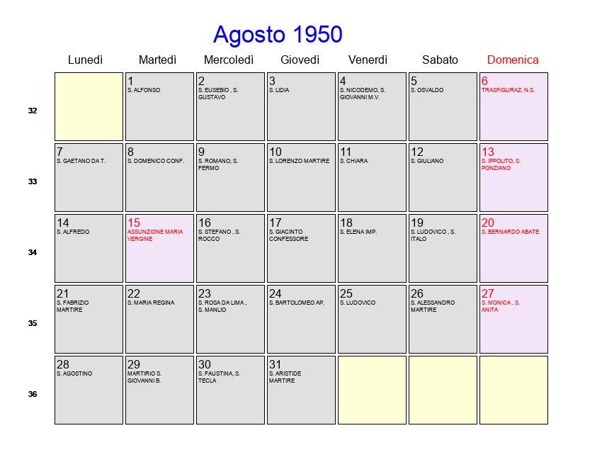 Calendario Con Festivita.Calendario 1950 Con Festivita Ikbenalles