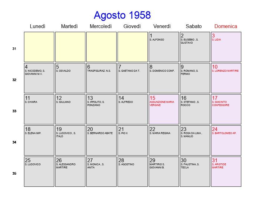 Calendario 1958.Calendario Agosto 1958 Con Festivita E Fasi Lunari