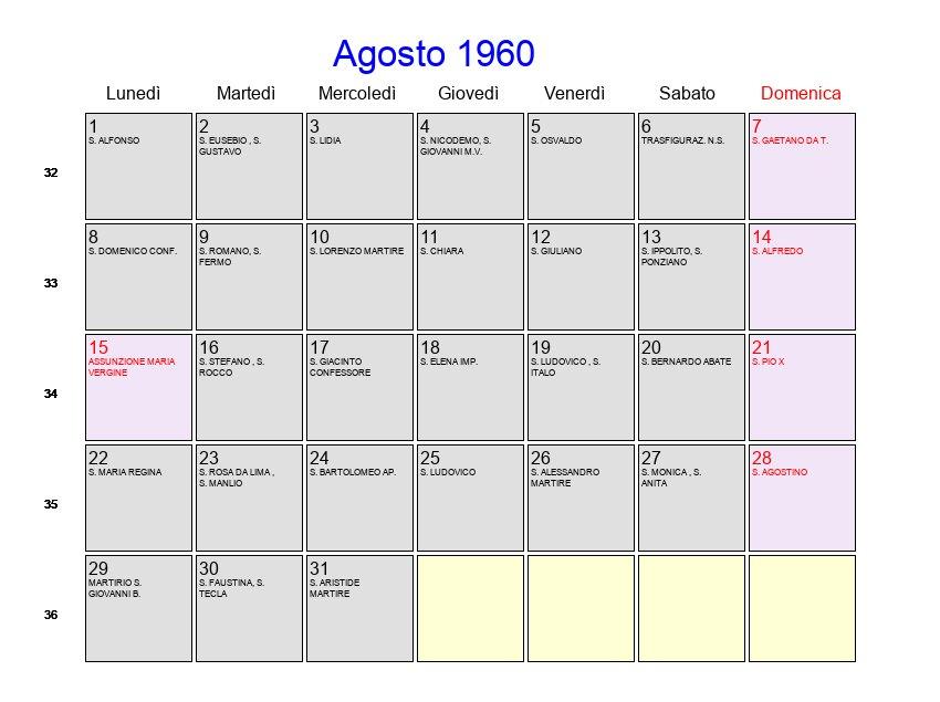 Calendario 1960.Calendario Agosto 1960 Con Festivita E Fasi Lunari