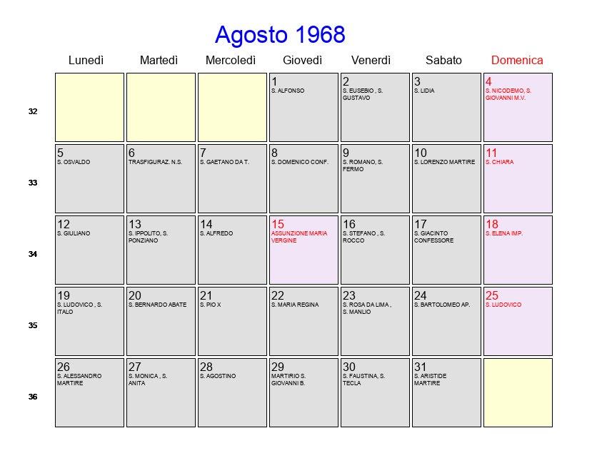 Calendario 1968.Calendario Agosto 1968 Con Festivita E Fasi Lunari