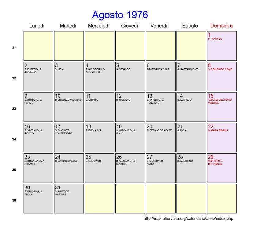 Calendario 1976.Calendario Agosto 1976 Con Festivita E Fasi Lunari
