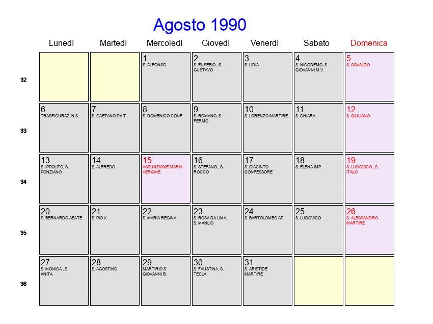 1990 Calendario.Calendario Agosto 1990 Con Festivita E Fasi Lunari
