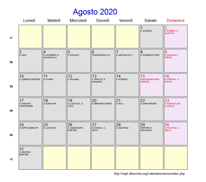 Calendario Di Agosto 2020.Calendario Agosto 2020 Con Festivita E Fasi Lunari