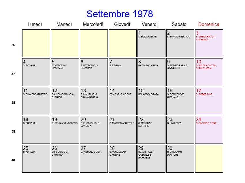 Calendario Lunare 1978.Calendario Settembre 1978 Con Festivita E Fasi Lunari