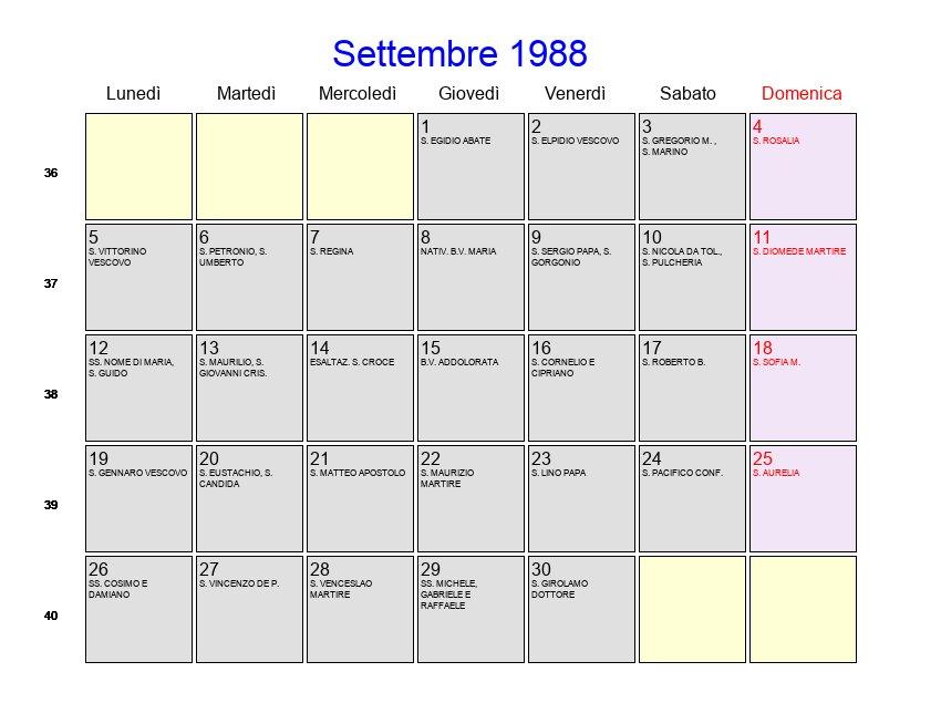 Calendario Lunare 1988.Calendario Settembre 1988 Con Festivita E Fasi Lunari