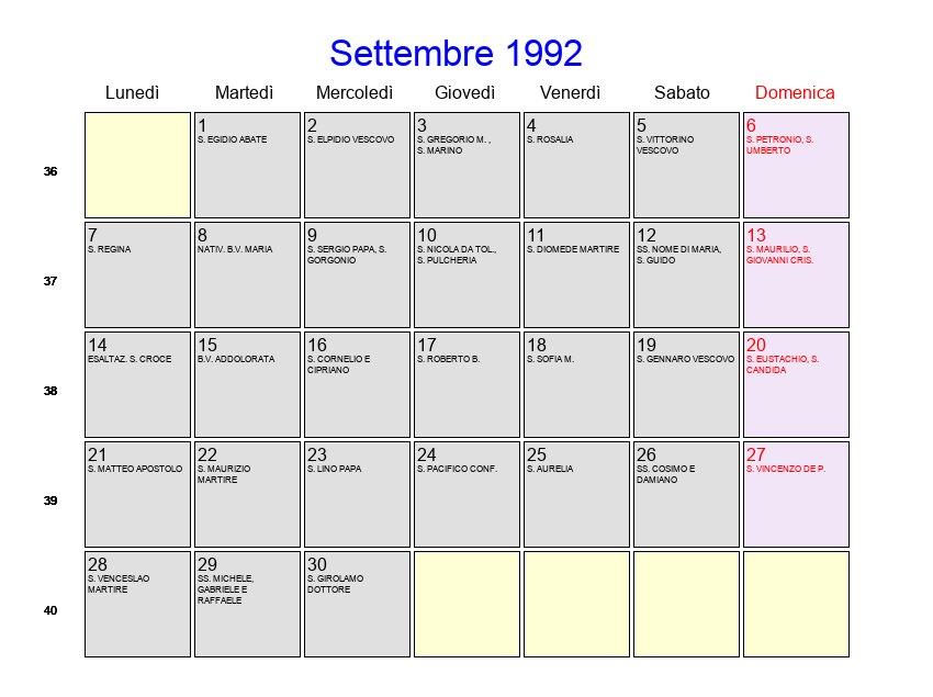 Calendario Anno 1992.Calendario Settembre 1992 Con Festivita E Fasi Lunari