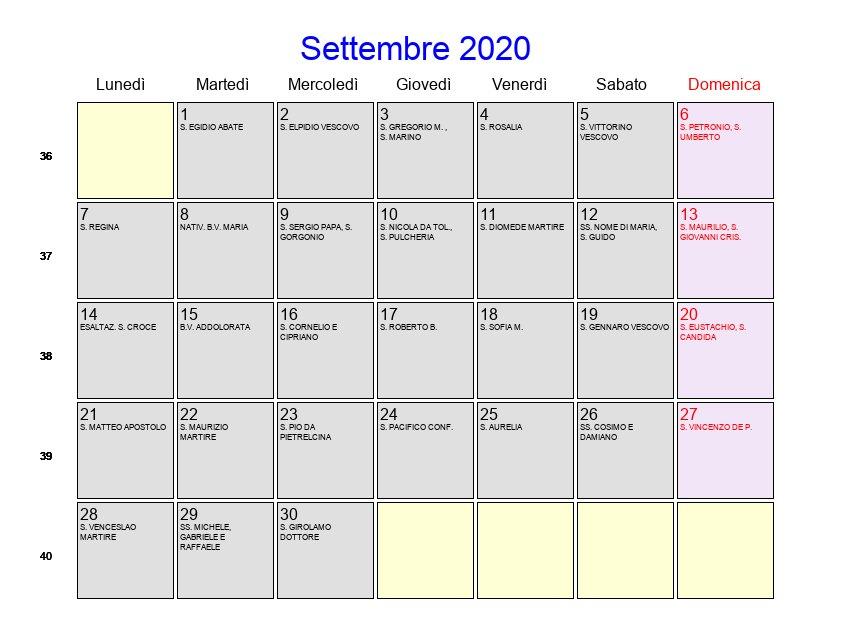 Calendario Gennaio 2020 Da Stampare.Calendario Settembre 2020 Con Festivita E Fasi Lunari