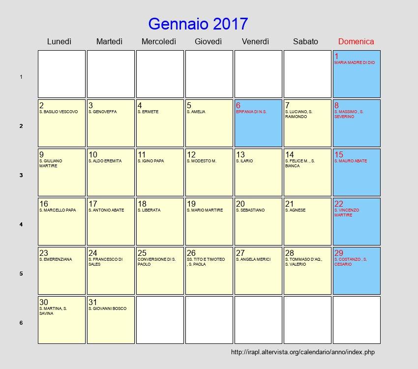 Calendario gennaio 2017 con festivit e fasi lunari Calendario 2017 con lunas