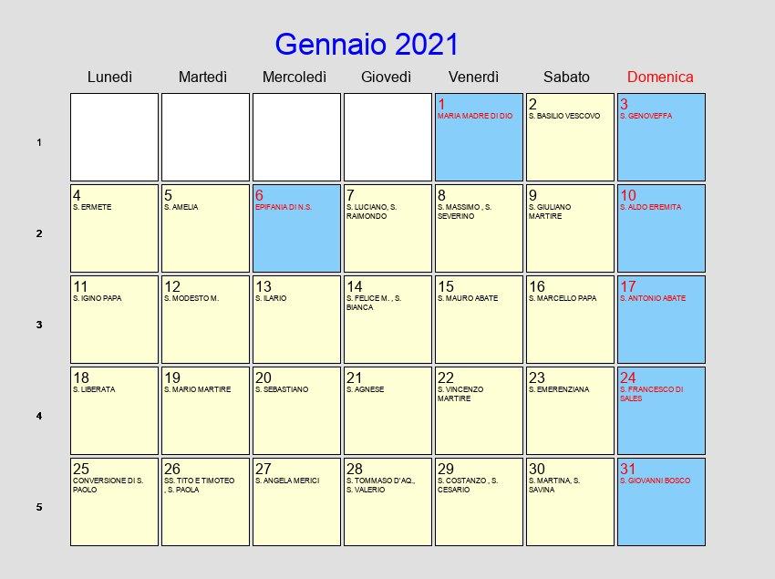 Calendario Gennaio 2021   Con festività e fasi lunari