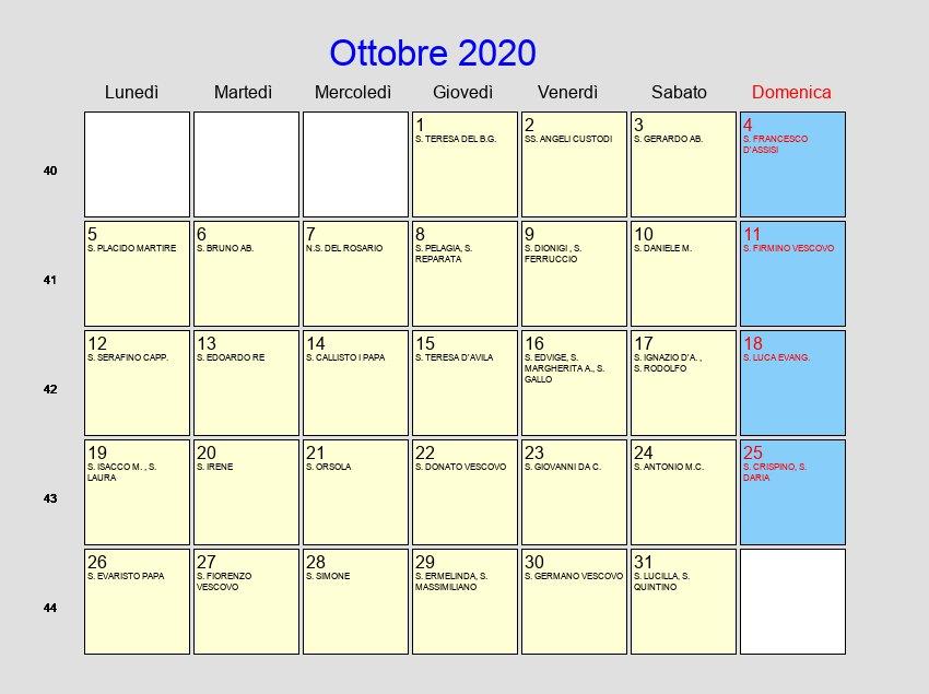 Calendario Mese Ottobre 2020.Calendario Ottobre 2020 Con Festivita E Fasi Lunari