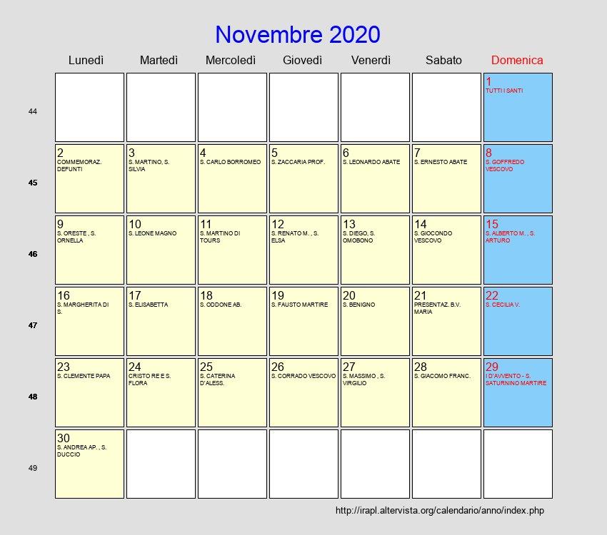 Novembre 2020 Calendario.Calendario Novembre 2020 Con Festivita E Fasi Lunari Avvento