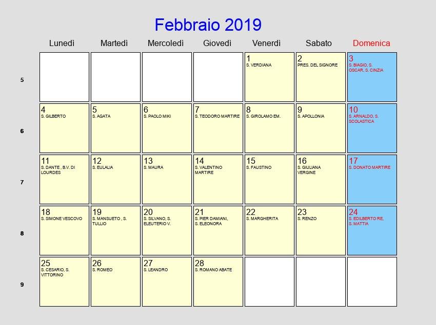 San Simone Calendario.Calendario Febbraio 2019 Con Festivita E Fasi Lunari