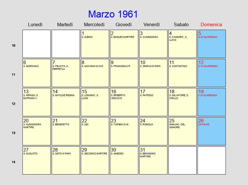Calendario Del 1961.Calendario Marzo 1961 Con Festivita E Fasi Lunari Quaresima