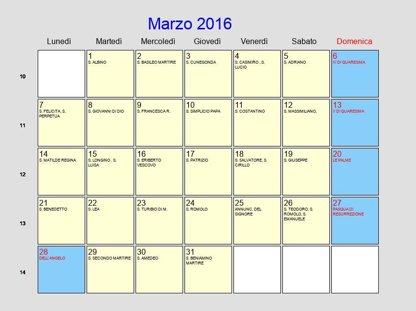 foto de Calendario Marzo 2016 Con festività e fasi lunari Pasqua