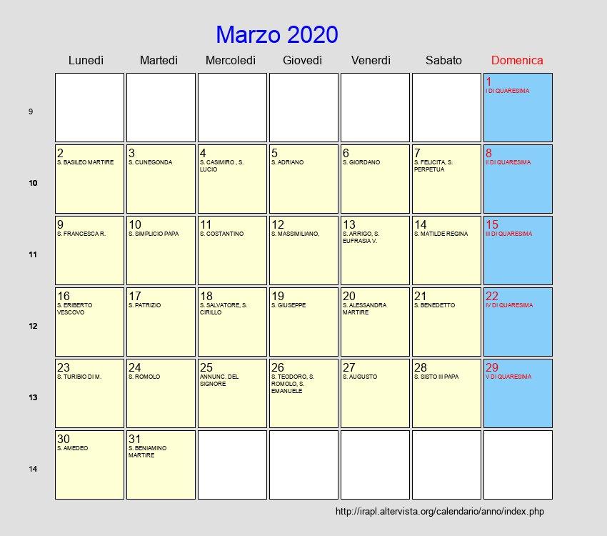 Calendario Marzo 2020.Calendario Marzo 2020 Con Festivita E Fasi Lunari Quaresima