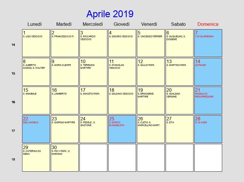 Calendario Con Festivita.Calendario Aprile 2019 Con Festivita E Fasi Lunari Pasqua