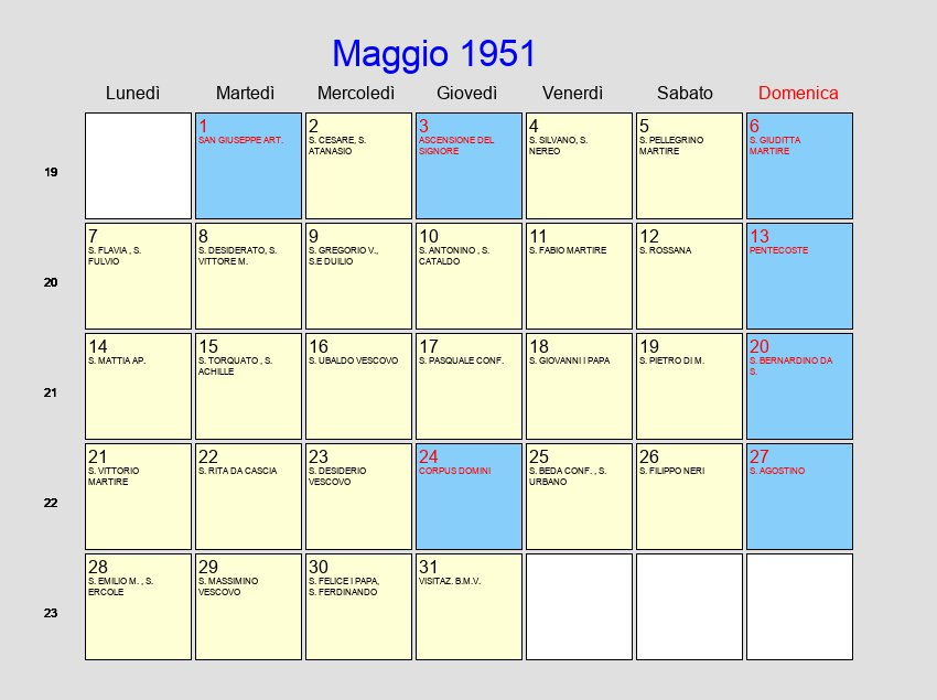 Calendario 1951.Calendario Maggio 1951 Con Festivita E Fasi Lunari