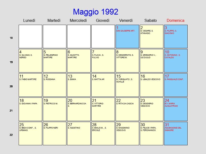Calendario Anno 1992.Calendario Maggio 1992 Con Festivita E Fasi Lunari