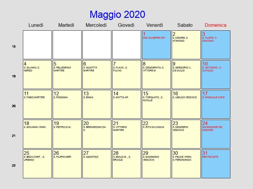 Calendario Pasqua 2020.Calendario Maggio 2020 Con Festivita E Fasi Lunari