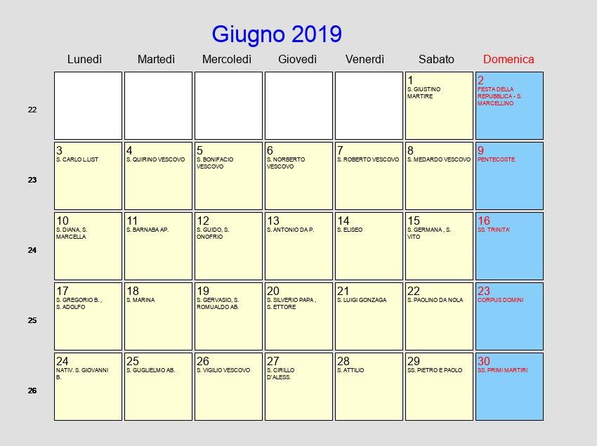 Calendario Mese Giugno.Calendario Giugno 2019 Con Festivita E Fasi Lunari