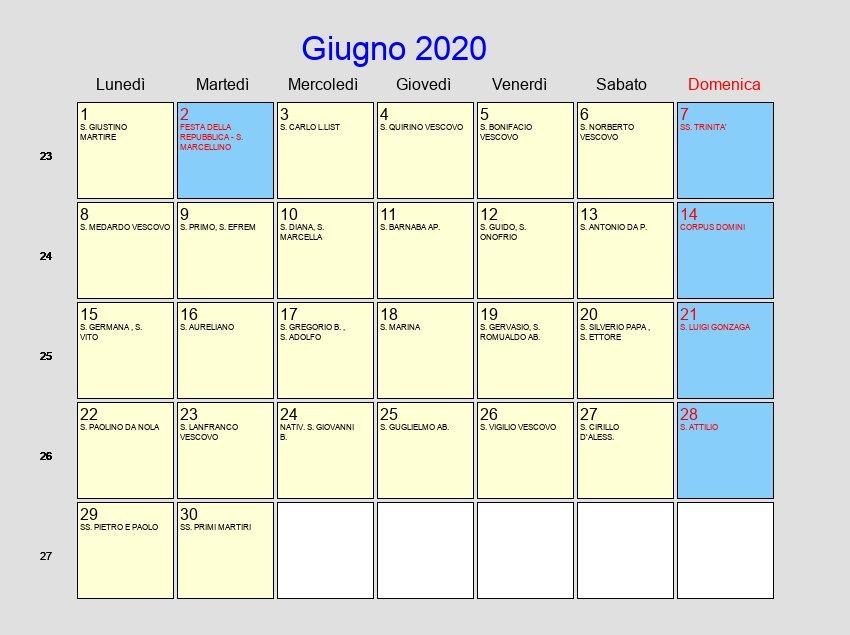 Calendario Maggio 2020 Da Stampare.Calendario Giugno 2020 Con Festivita E Fasi Lunari